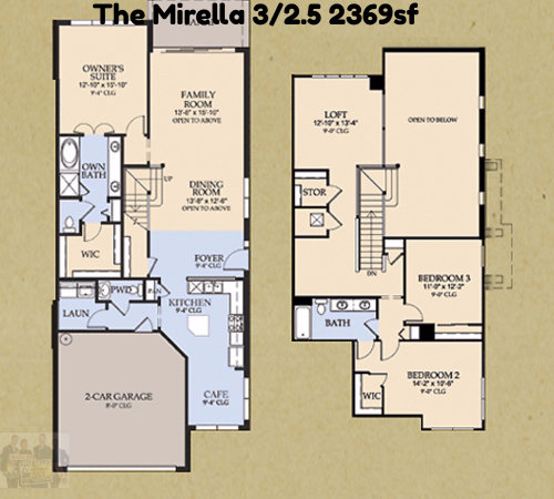The Mirella 3/2.5 2369sf Vizcaya Floorplan
