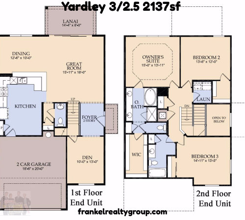 The Yardley at Vizcaya Townhomes 3/2.5 2137sf