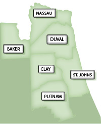 Map of Northeast Florida Counties Jacksonville FL