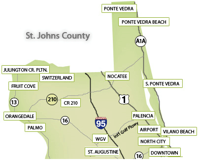 north st johns county map
